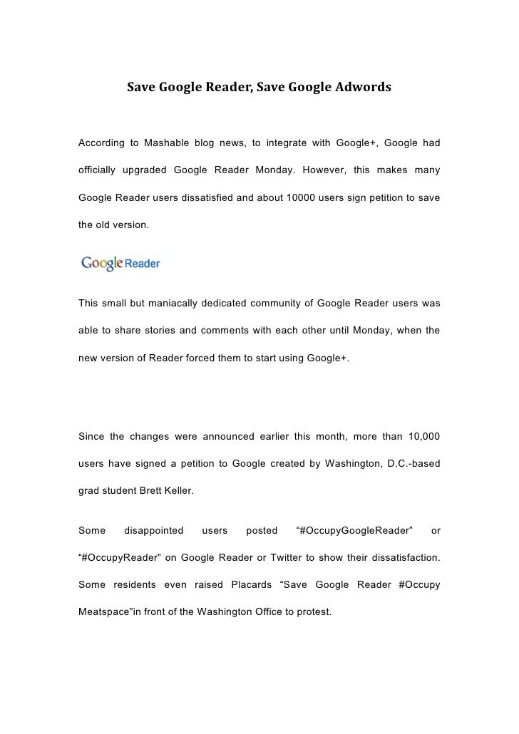 Save Google Reader, Save Google AdwordsAccording to Mashable blog news, to integrate with Google+, Google hadofficially up...