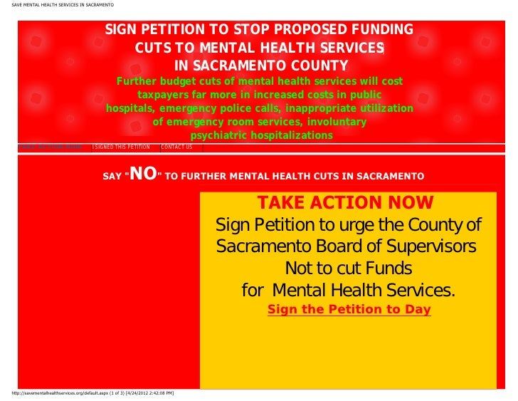 SAVE MENTAL HEALTH SERVICES IN SACRAMENTO                                             SIGN PETITION TO STOP PROPOSED FUNDI...