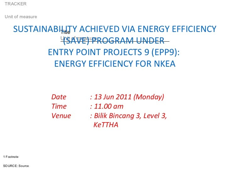 Date  : 13 Jun 2011 (Monday) Time : 11.00 am Venue  : Bilik Bincang 3, Level 3,   KeTTHA SUSTAINABILITY ACHIEVED VIA ENERG...