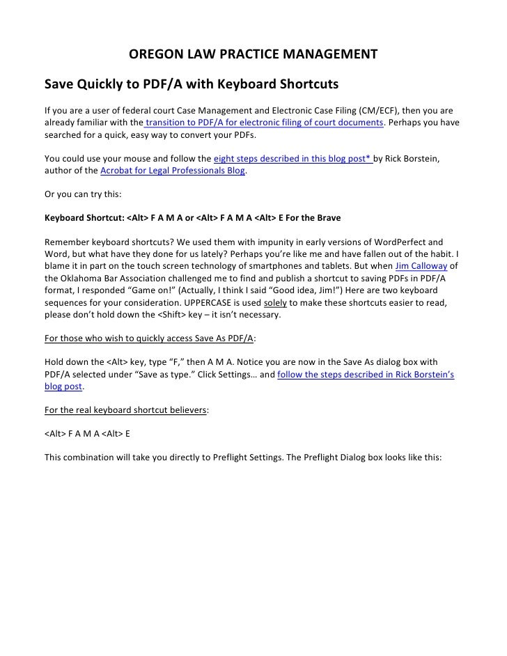 OREGON LAW PRACTICE MANAGEMENTSave Quickly to PDF/A with Keyboard ShortcutsIf you are a user of federal court Case Managem...