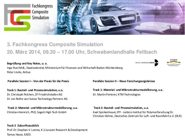 Save The Date  - 3. Fachkongress Composite Simulation 20. März 2014 in Fellbach