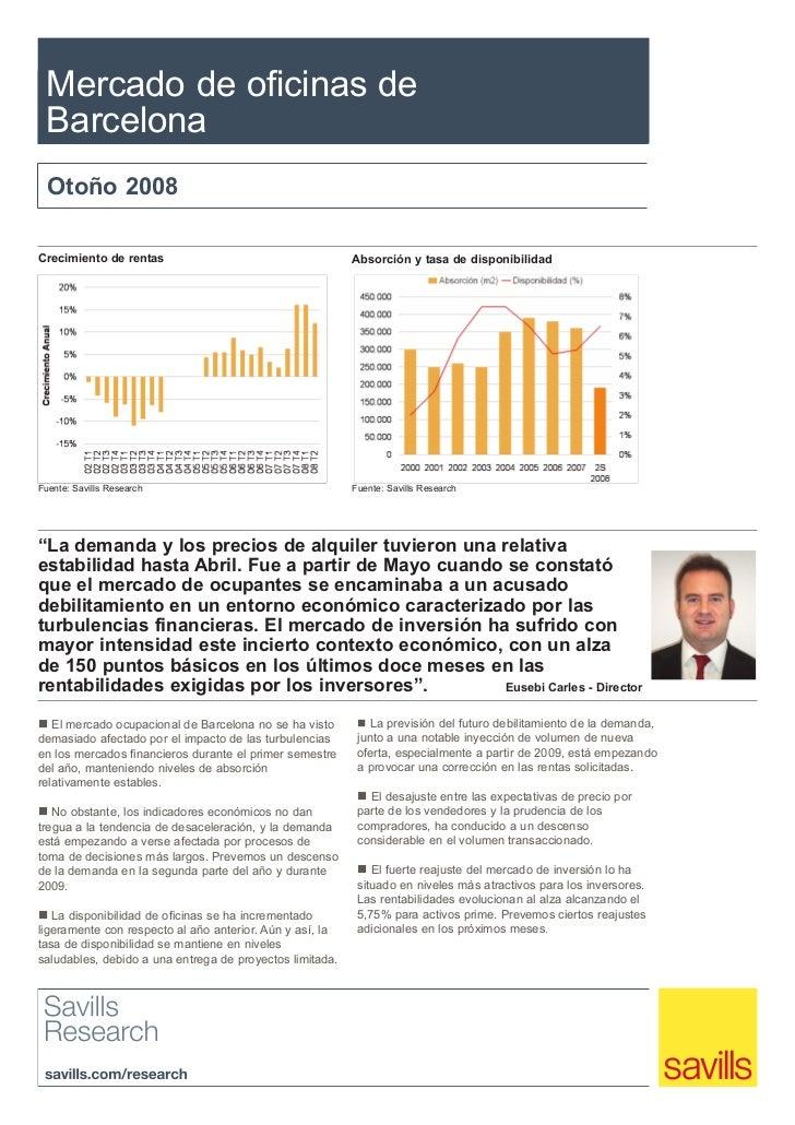 Mercado de oficinas de Barcelona  Otoño 2008Crecimiento de rentas                                     Absorción y tasa de ...