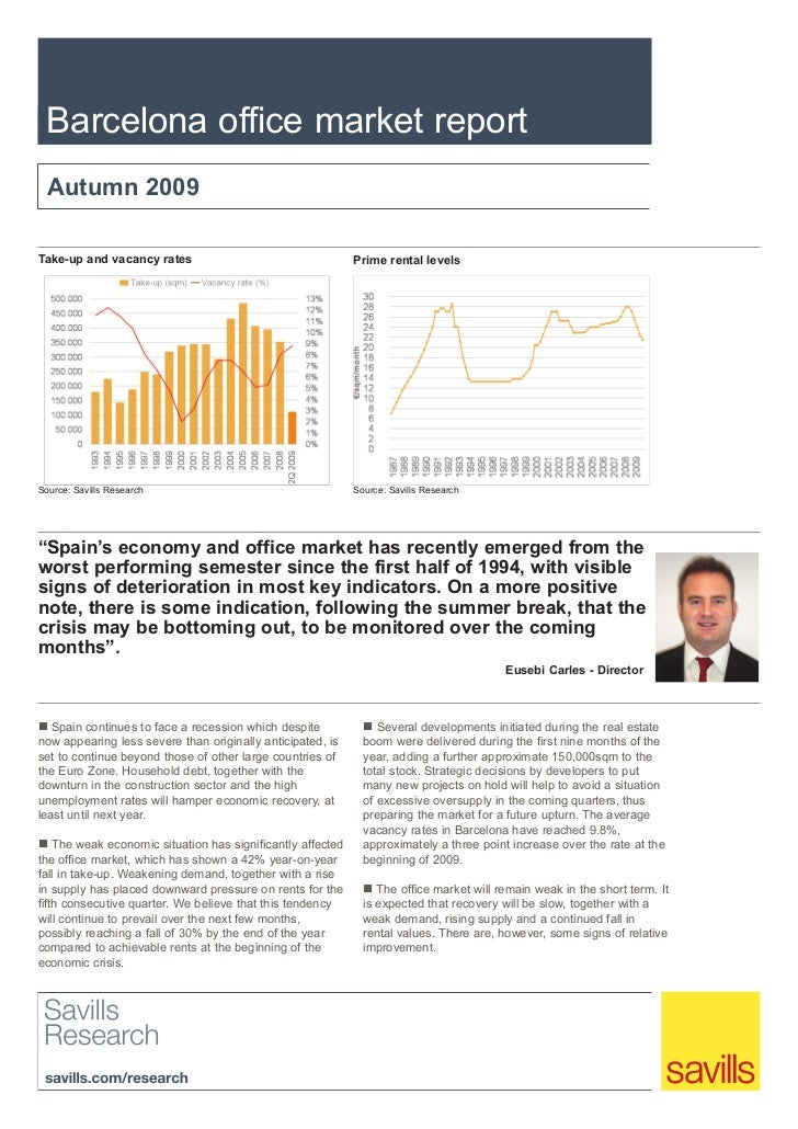 Barcelona office market report  Autumn 2009Take-up and vacancy rates                                    Prime rental level...