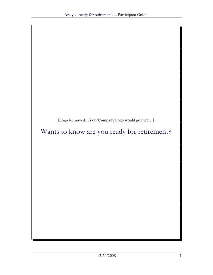 Saving For Retirement Associate Guide Sample Presentation