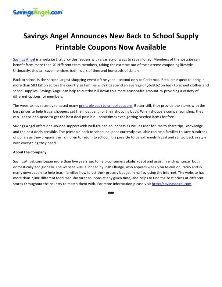 Printable coupons for back to school supplies