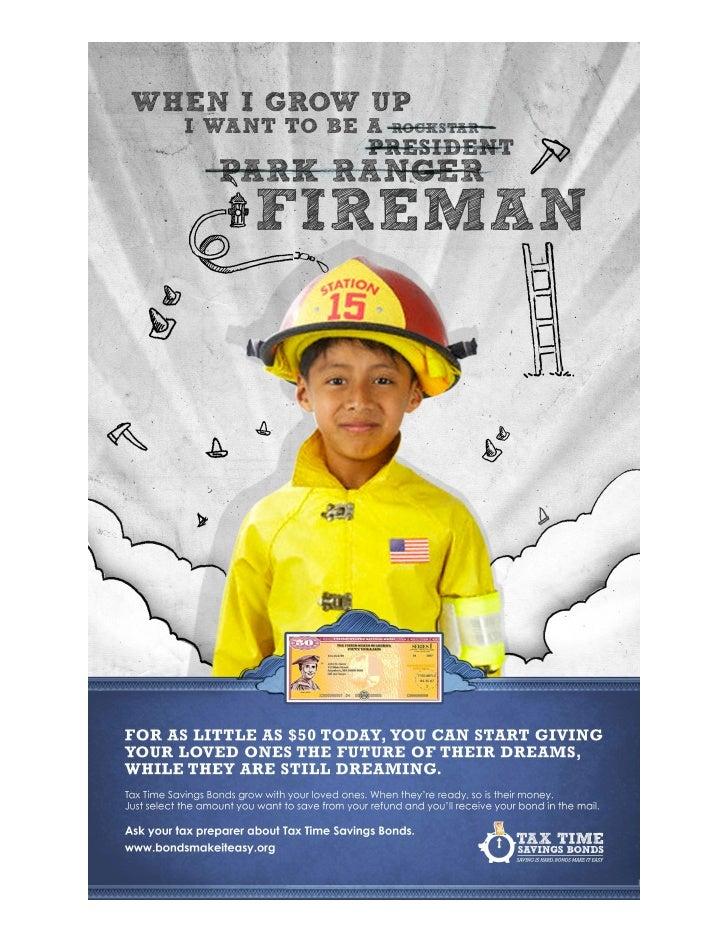 Savings Bond Fireman Dream Tax Time Poster