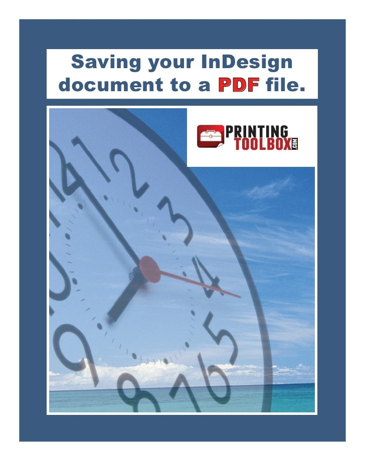 Saving Your In Design To Pdf