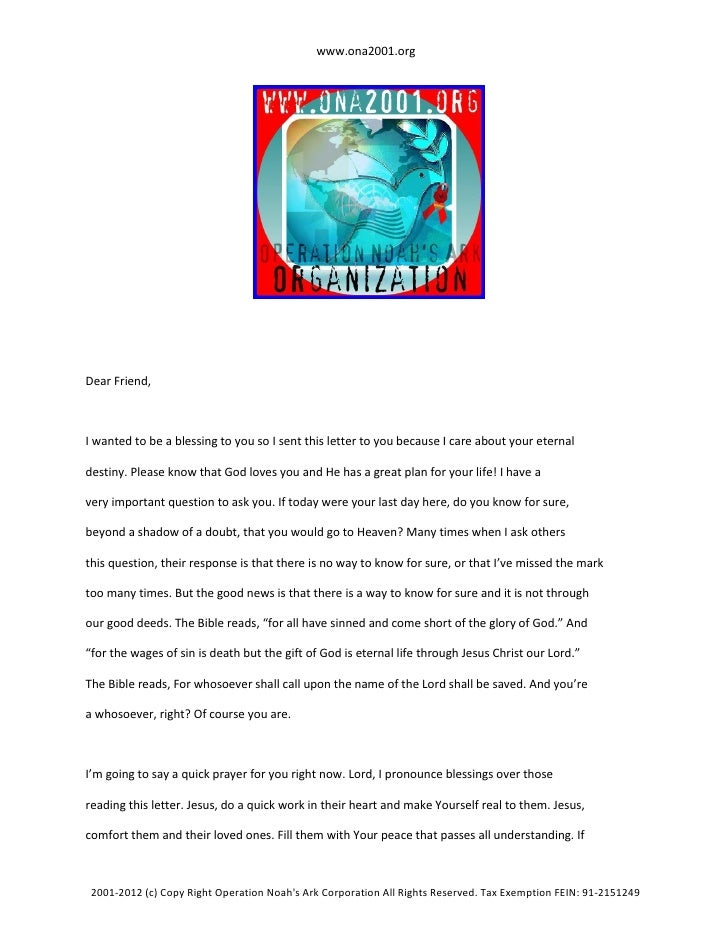www.ona2001.orgDear Friend,I wanted to be a blessing to you so I sent this letter to you because I care about your eternal...
