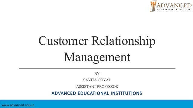 notes on customer relationship management