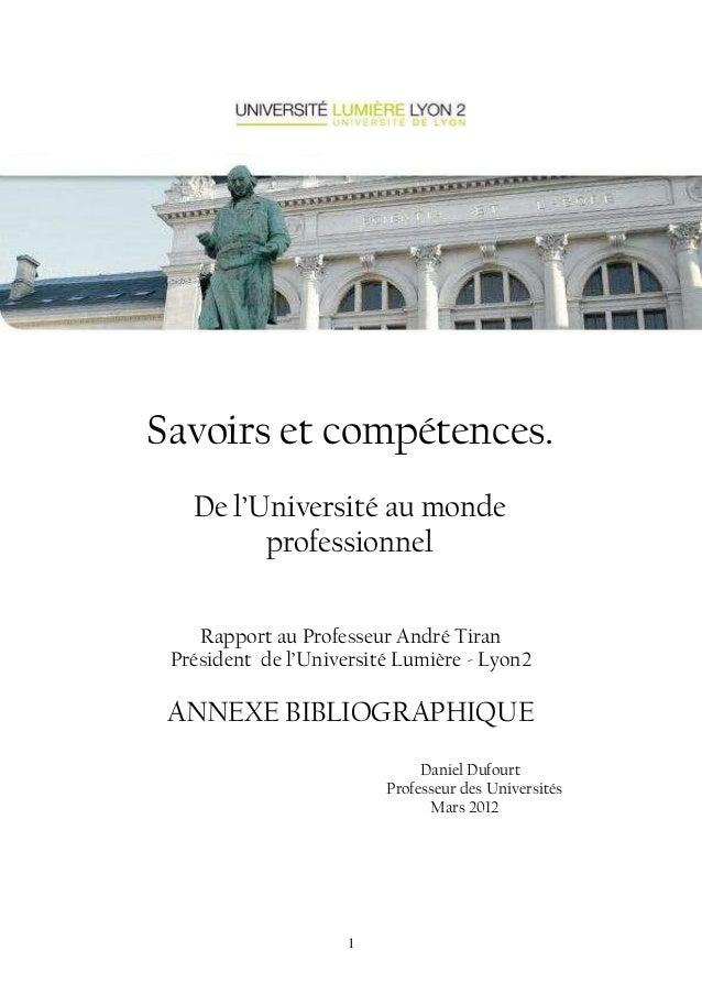 Savoirs et compétences.  De l'Université au monde  professionnel  Rapport au Professeur André Tiran  Président de l'Univer...