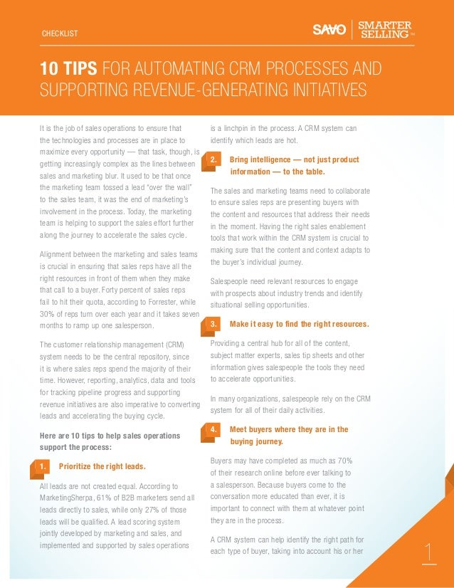 CHECKLIST  10 Tips For Automating CRM Processes And Supporting Revenue-Generating Initiatives It is the job of sales opera...