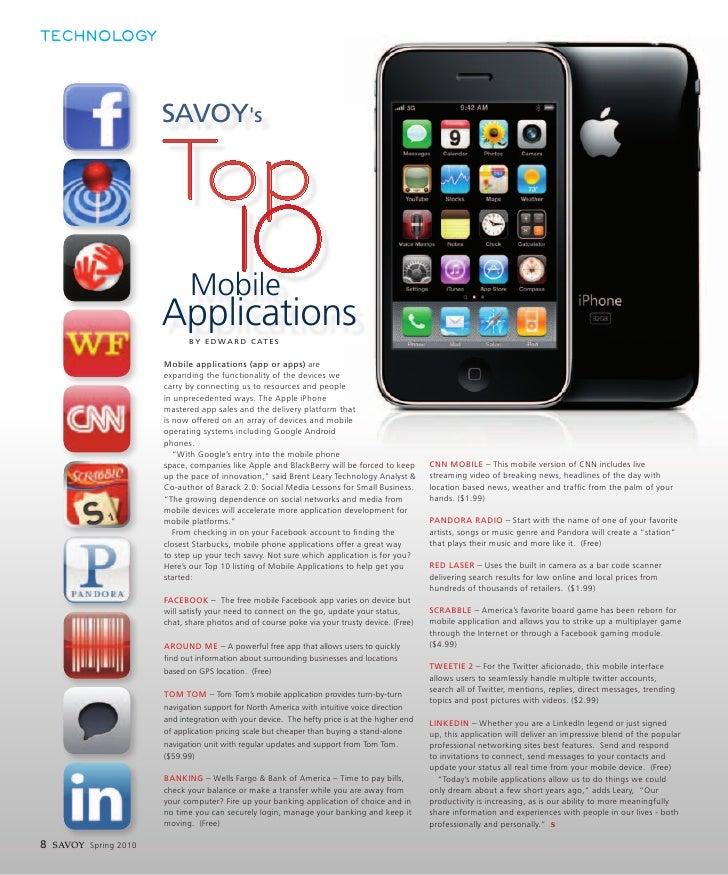 TECHNOLOGY                             SAVOY's                          Top                                Mobile         ...