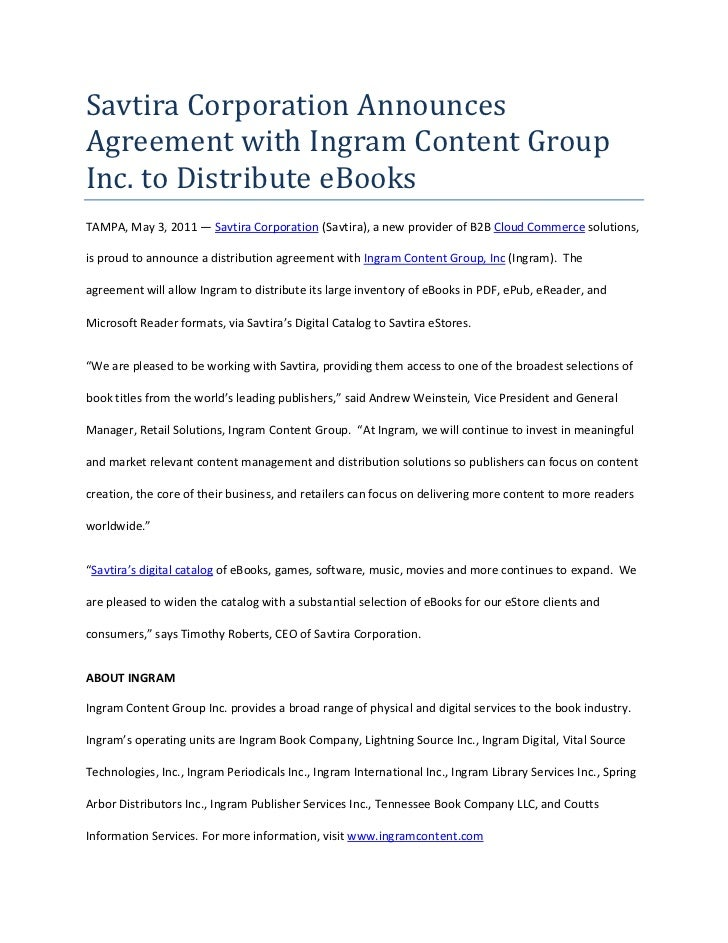 Savtira Corporation Announces Agreement with Ingram Content Group Inc. to Distribute eBooks<br />TAMPA, May 3, 2011 — Savt...