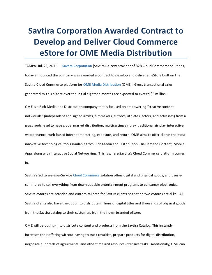 Savtira Corporation Awarded Contract to Develop and Deliver Cloud Commerce eStore for OME Media Distribution<br />TAMPA, J...