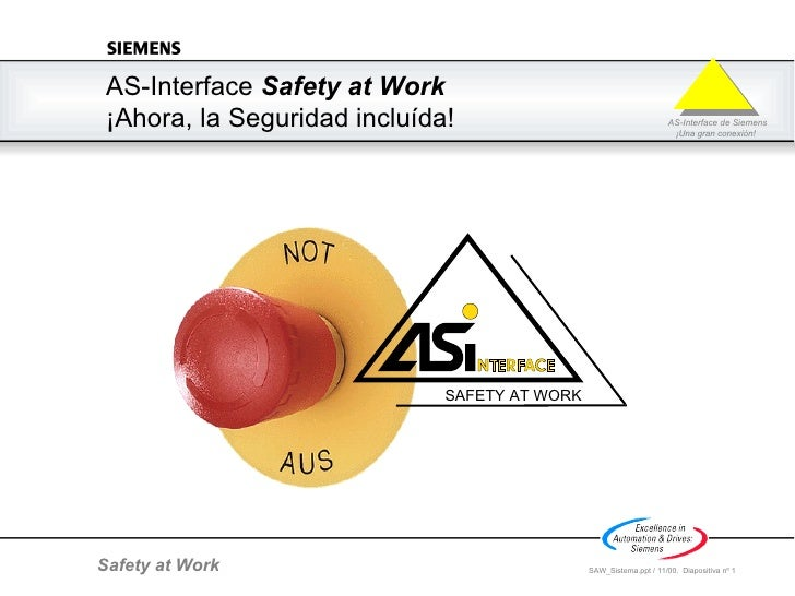 AS-Interface  Safety at Work  ¡ Ahora, l a Seguridad incluída! SAFETY AT WORK