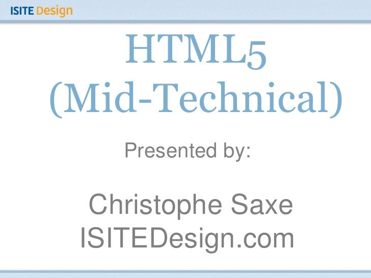 HTML5 (Mid-Technical)