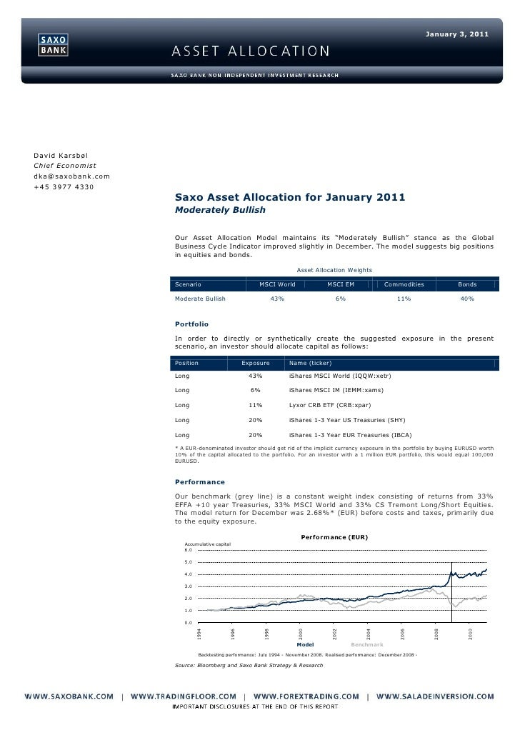 Saxo Asset Allocation for January 2011