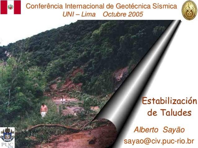 Conferência Internacional de Geotécnica Sísmica           UNI – Lima Octubre 2005                                    Estab...