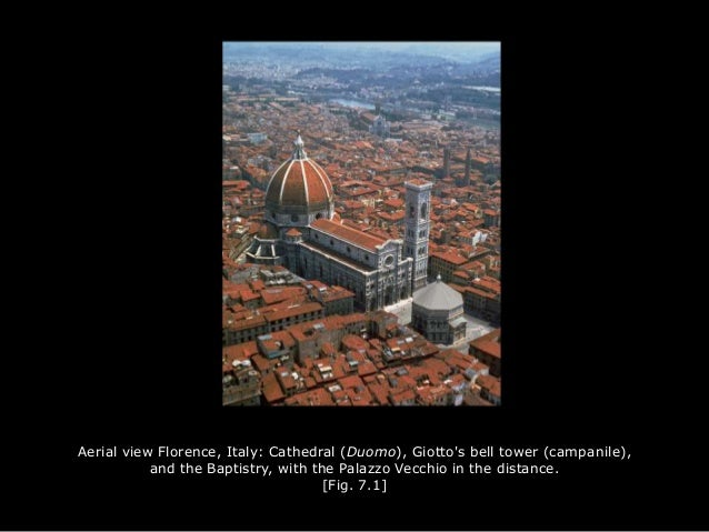 Aerial view Florence, Italy: Cathedral (Duomo), Giotto's bell tower (campanile), and the Baptistry, with the Palazzo Vecch...