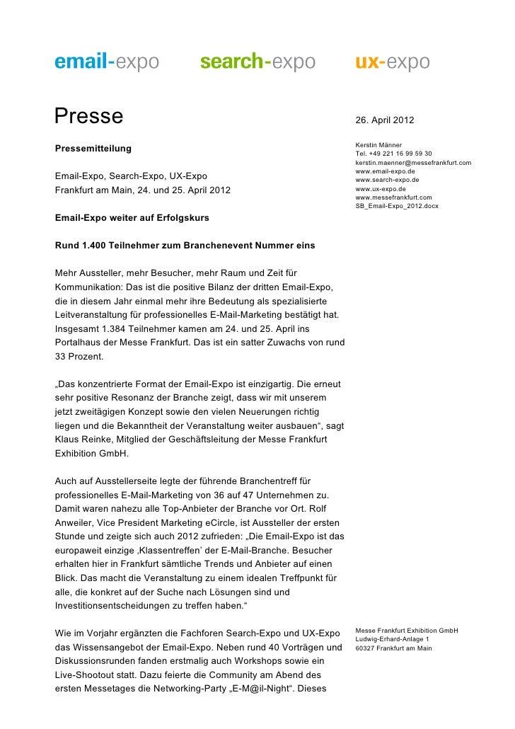 Presse                                                                  26. April 2012                                    ...