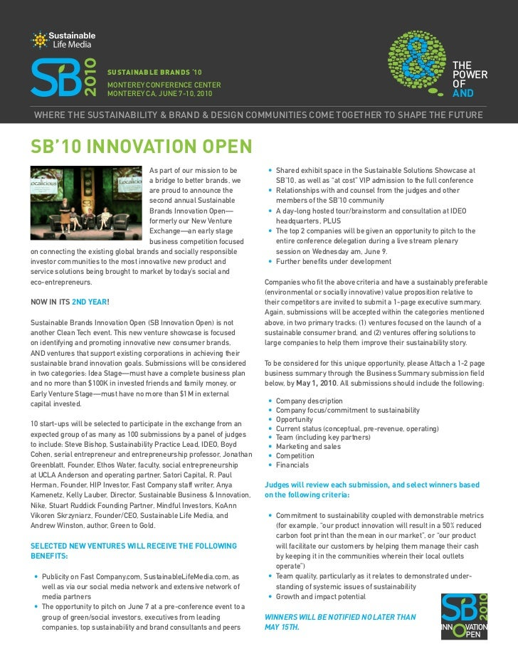 Sustainable Brands '10 Announces SB Innovation Open, a Contest for Sustainable Start-Ups