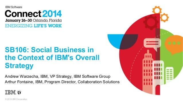 SB106: Social Business in the Context of IBM's Overall Strategy Andrew Warzecha, IBM, VP Strategy, IBM Software Group Arth...