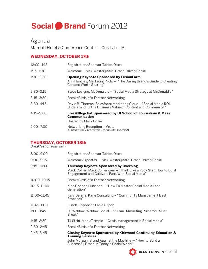 Social Brand Forum 2012 Agenda