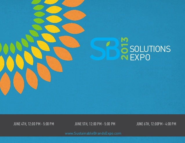 Solutions Expo at Sustainable Brands 2013   Brochure