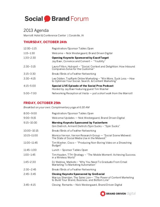 2013 Agenda Marriott Hotel & Conference Center | Coralville, IA  THURSDAY, OCTOBER 24th 12:00–1:15  Registration/Sponsor T...
