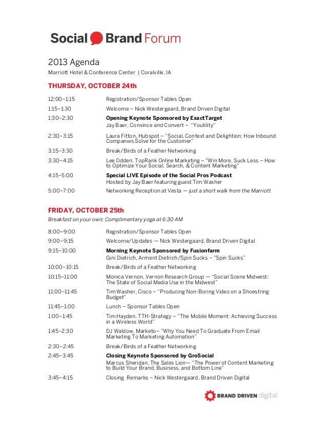 Social Brand Forum 2013 Agenda