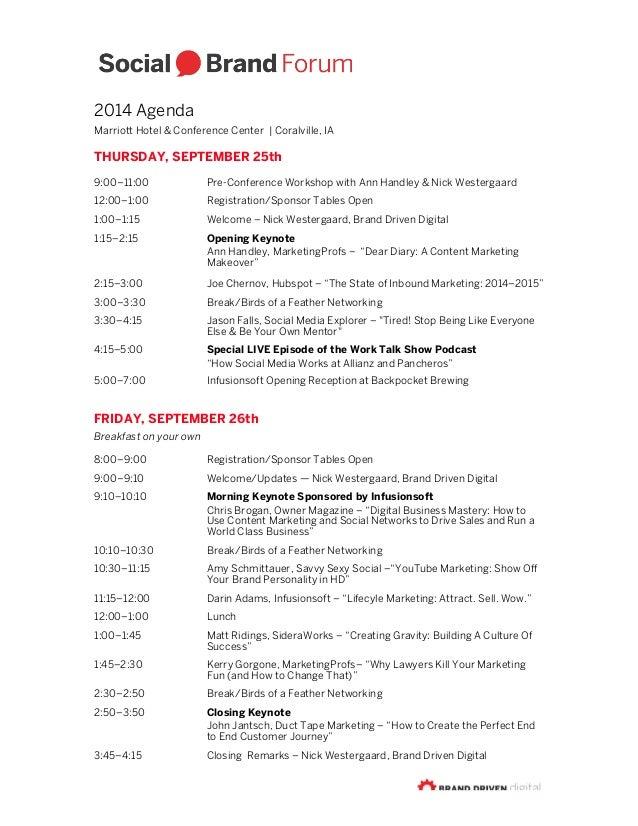 Social Brand Forum 2014 Agenda