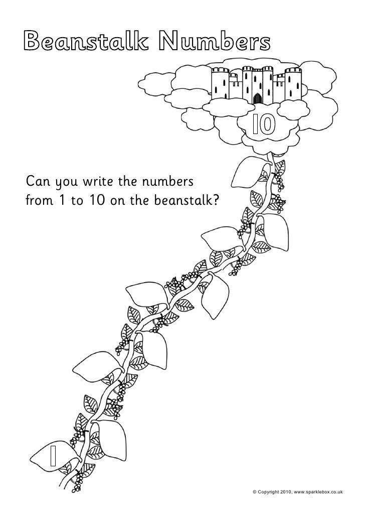 Beanstalk Numbers                                 I0Can you write the numbersfrom 1 to 10 on the beanstalk?   I           ...