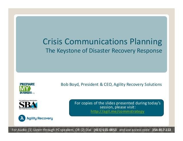 CrisisCommunicationsPlanning                      TheKeystoneofDisasterRecoveryResponse                            ...