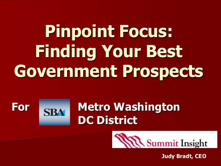 Pinpoint Focus:  Finding Your BestGovernment ProspectsFor   Metro Washington      DC District                   Judy Bradt...