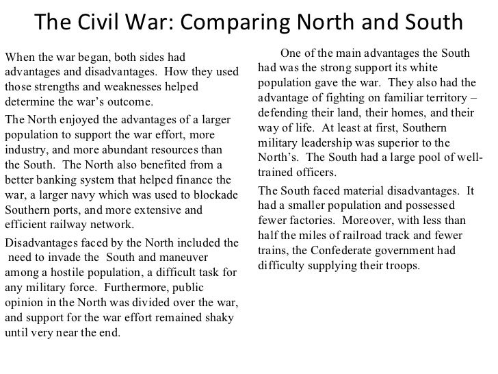 civil war differences between north and south essay examples