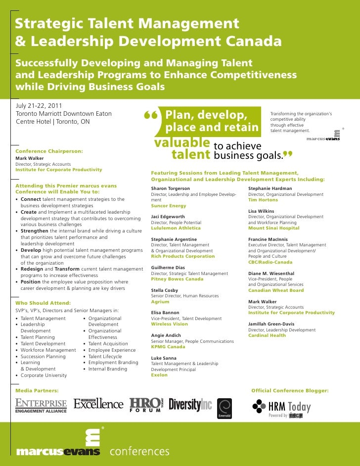 Strategic Talent Management& Leadership Development CanadaSuccessfully Developing and Managing Talentand Leadership Progra...