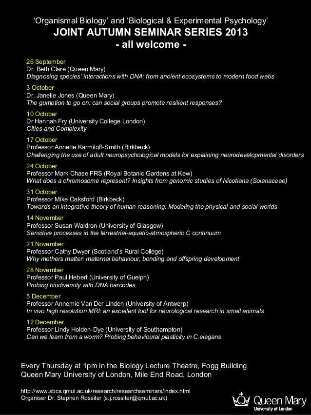 SBCS 2013 Seminar Series (Organismal & Experimental Psychology)