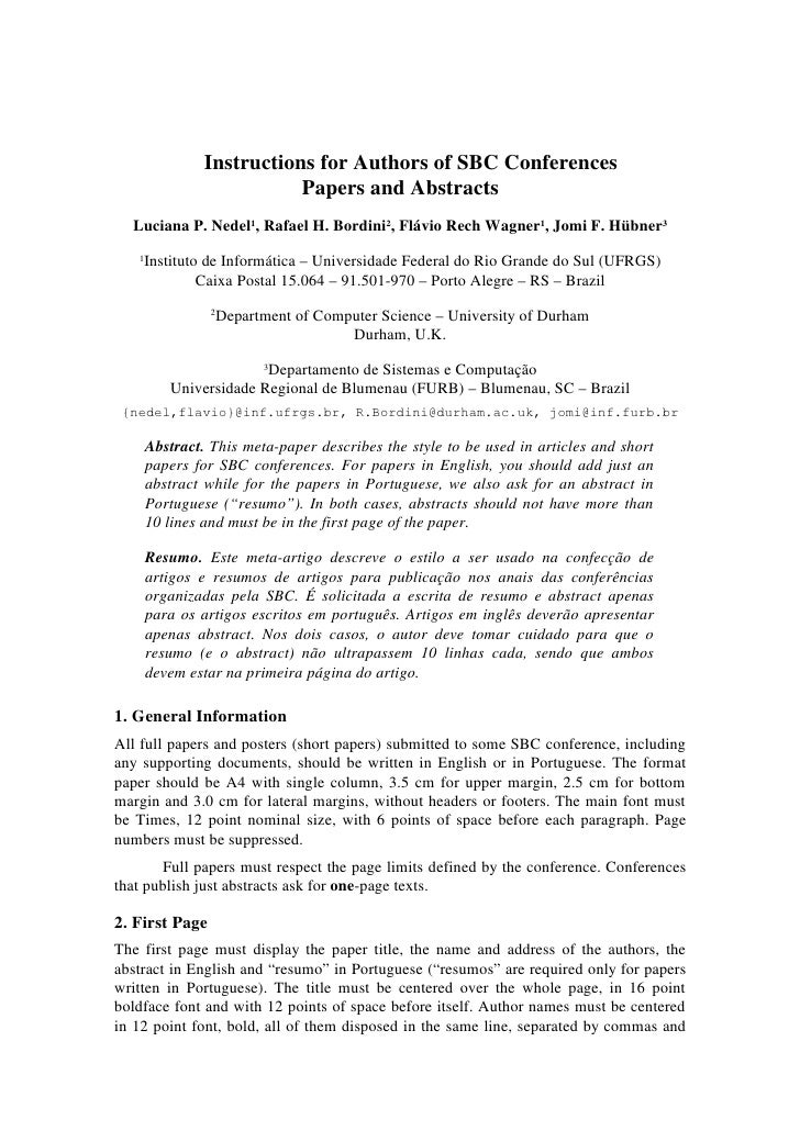 Instructions for Authors of SBC Conferences                           Papers and Abstracts  Luciana P. Nedel1, Rafael H. B...