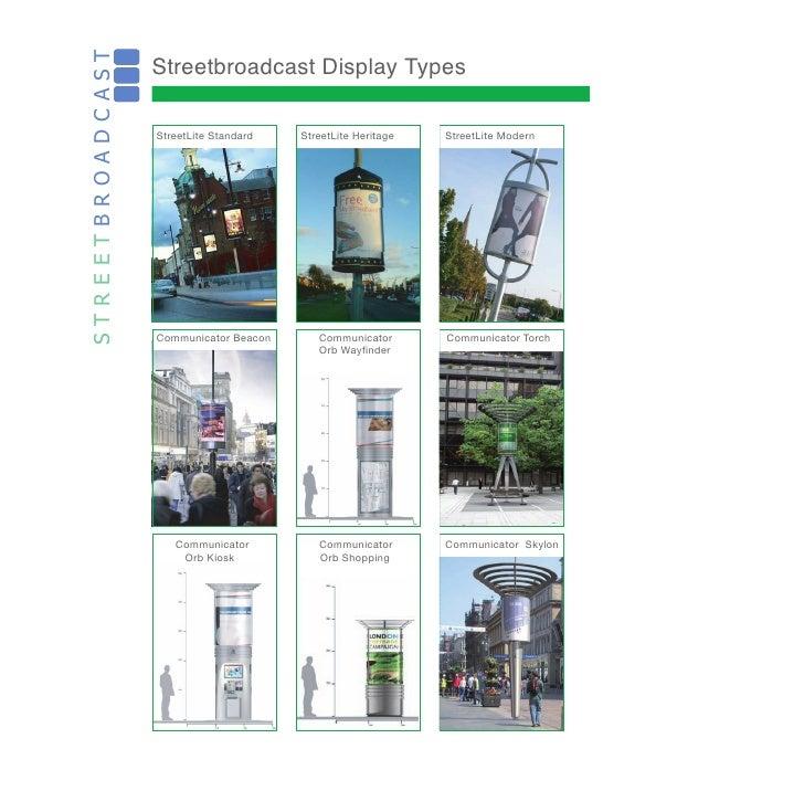 Streetbroadcast Display Types STREETBROADCAST                     StreetLite Standard   StreetLite Heritage   StreetLite M...