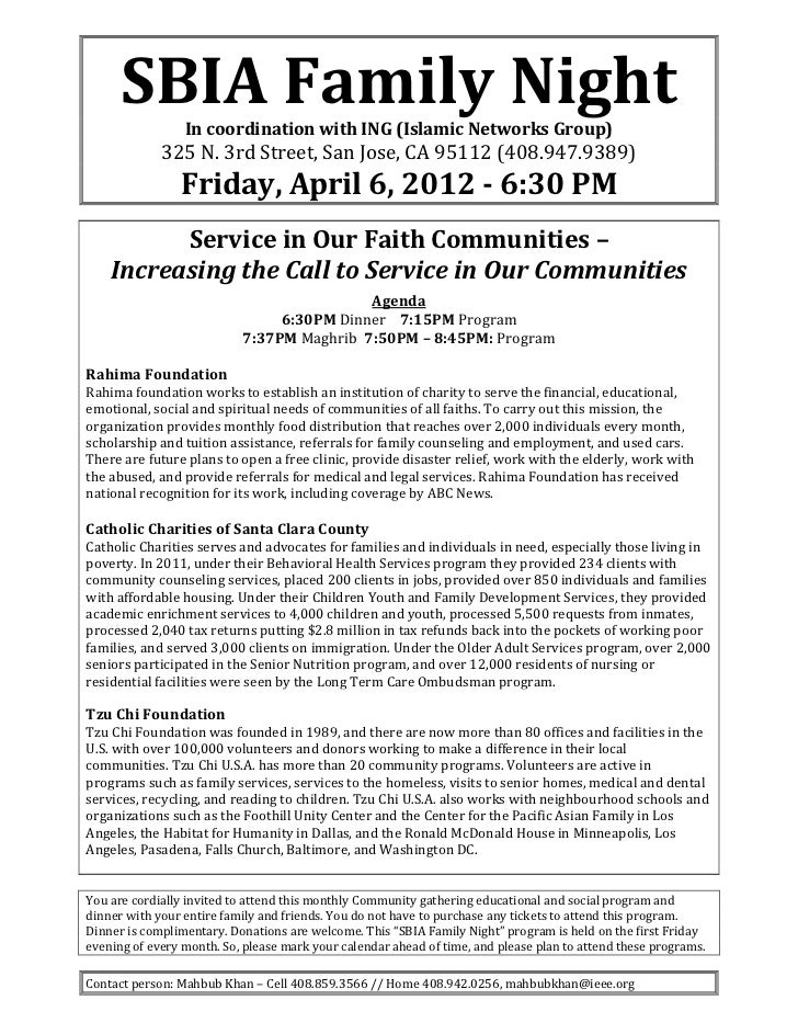 SBIAFamilyNight                 IncoordinationwithING(IslamicNetworksGroup)             325N.3rdStreet,San...