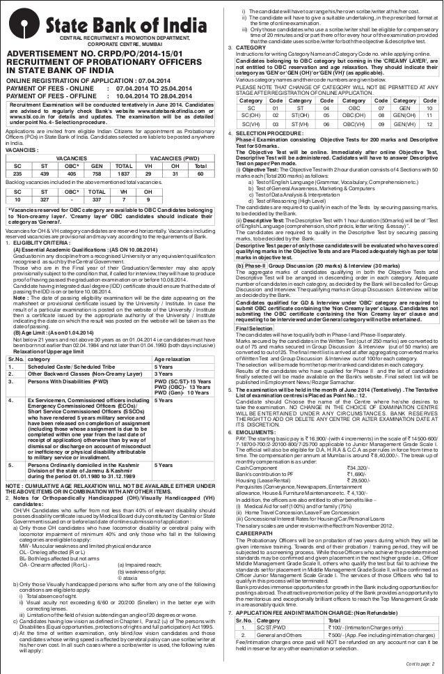 CENTRAL RECRUITMENT & PROMOTION DEPARTMENT, CORPORATE CENTRE, MUMBAI ADVERTISEMENT NO. CRPD/PO/2014-15/01 RECRUITMENT OF P...