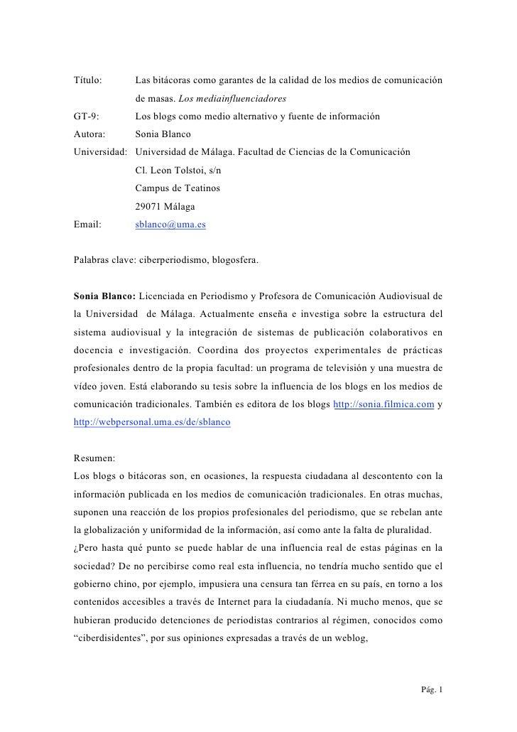 Las bitácoras como garantes de la calidad de los medios de comunicación (2006)