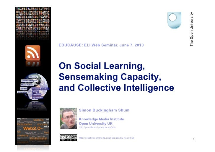 EDUCAUSE: ELI Web Seminar, June 7, 2010     On Social Learning, Sensemaking Capacity, and Collective Intelligence         ...