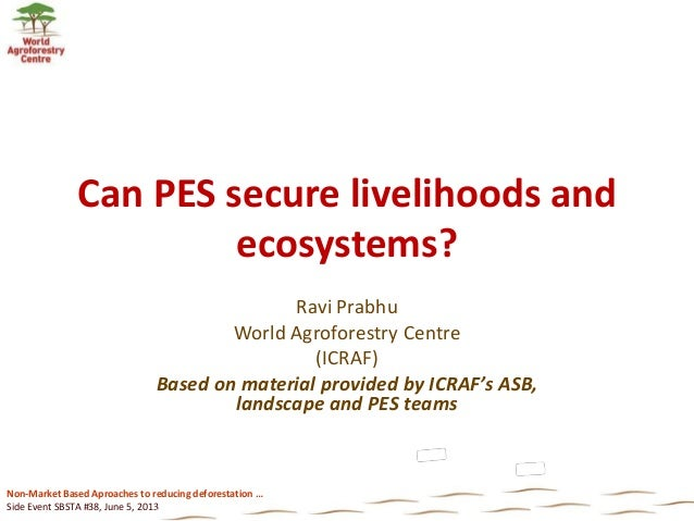 Non-Market Based Aproaches to reducing deforestation …Side Event SBSTA #38, June 5, 2013Can PES secure livelihoods andecos...