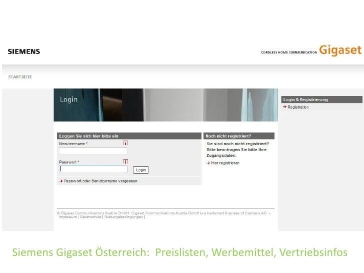 Siemens Gigaset Österreich: Preislisten, Werbemittel, Vertriebsinfos