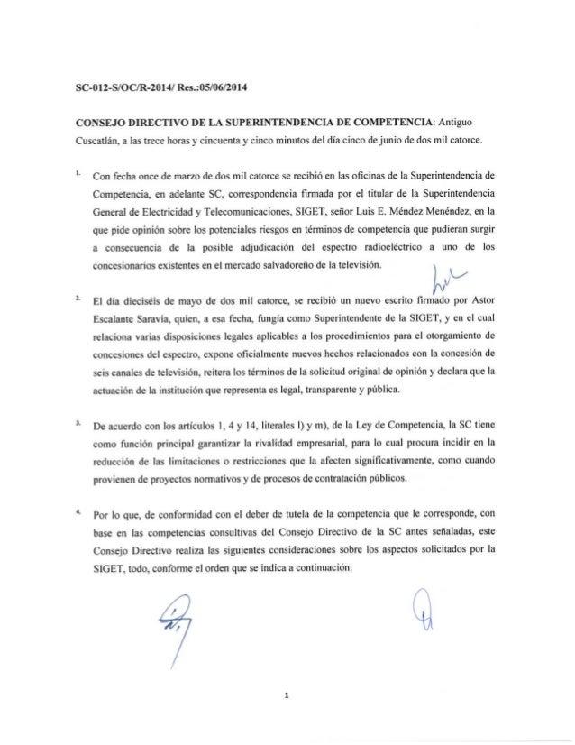 SC-012-S/OC/R-2014 Resolución de opinión
