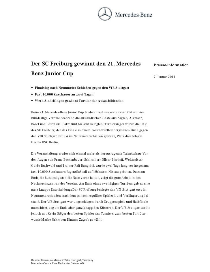 HU 6& )UHLEXUJ JHZLQQW GHQ  0HUFHGHV                                         Presse-Information%HQ] -XQLRU XS             ...