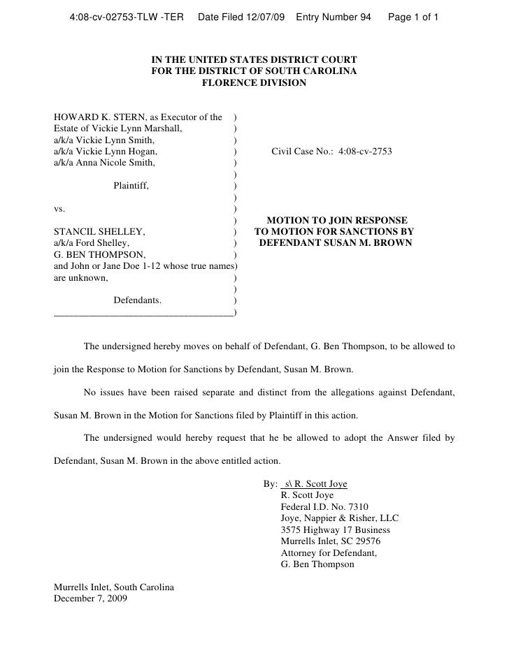 4:08-cv-02753-TLW -TER          Date Filed 12/07/09      Entry Number 94      Page 1 of 1                            IN TH...
