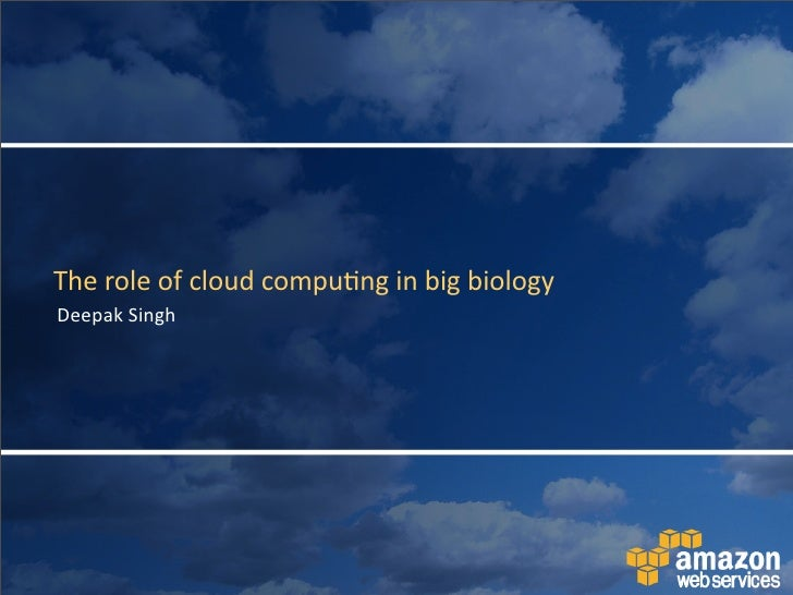 "Talk given at ""Cloud Computing for Systems Biology"" workshop"