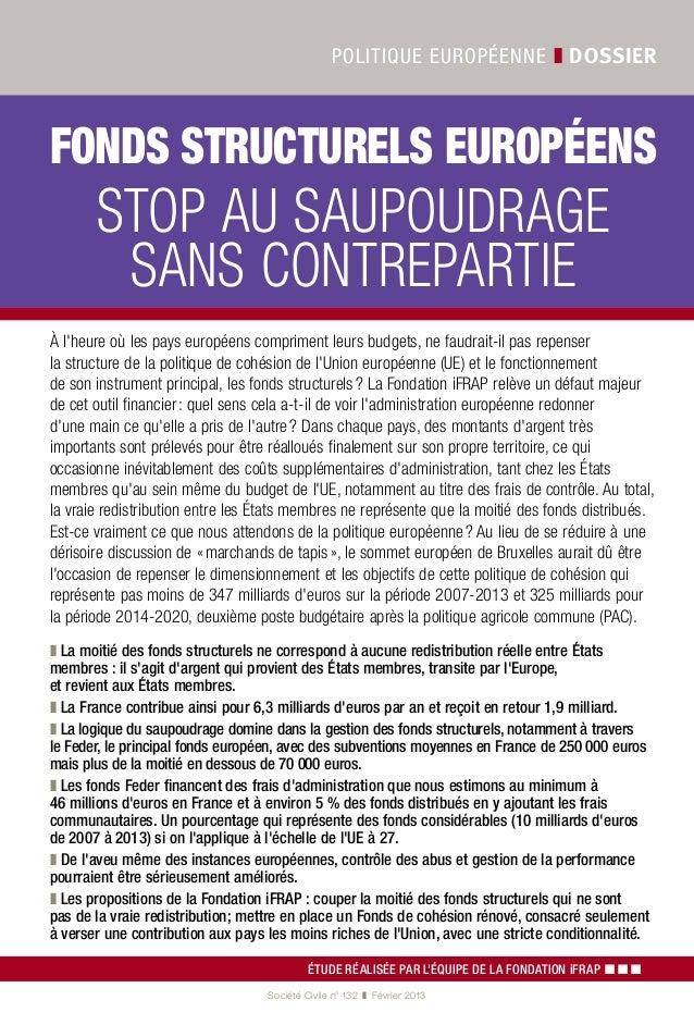 """Etude de la Fondation iFRAP : """"Fonds structurels européens : stop au saupoudrage sans contrepartie !"""""""